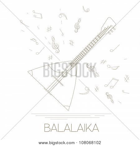 Musical instruments graphic template. Balalaika
