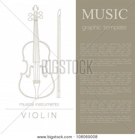 Musical instruments graphic template. Violin.
