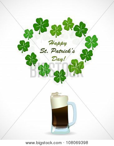 St. Patricks Day beer with heart shamrock