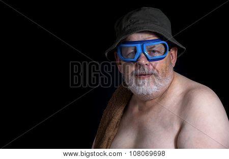 senior man getting ready to have a bath