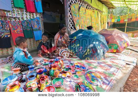Handicrafts Are Perpared For Sale By Rural Indian Woman With Children.
