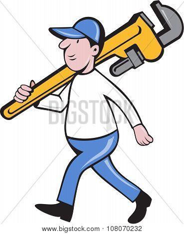 Plumber Holding Monkey Wrench Isolated Cartoon