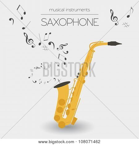 Musical instruments graphic template. Saxophone