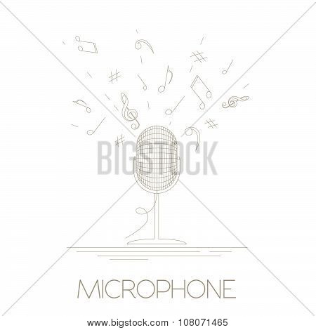 Musical instruments graphic template. Microphone.