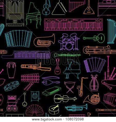 Musical instruments seamless pattern