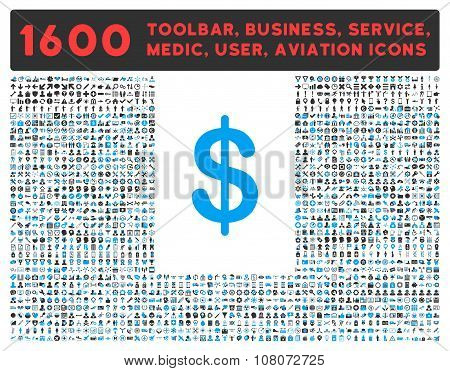 Dollar Icon With Large Pictogram Collection