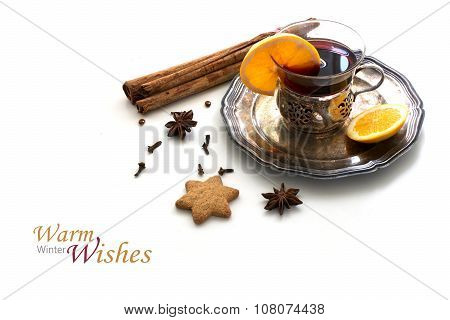 Mulled Wine, Christmas Punch With Orange Slices And Spices Isolated With Shadows On White