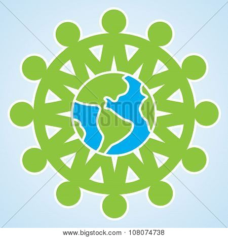 The People Are Holding Their Hands To Each Other Around The Planet Earth. Vector Unity Eco Icon Isol