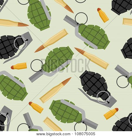 Military Ammo Seamless Pattern. Grenade And Ammo Military Texture. Manual Bursting Grenades And Cart