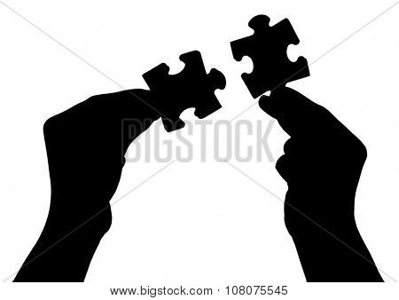 Silhouettes of hands with puzzle, isolated on white