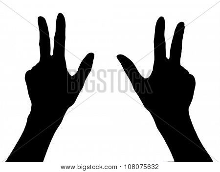 Silhouettes of hands, isolated on white