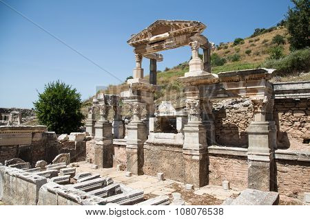 Fountain Of Trajan In Ephesus Ancient City