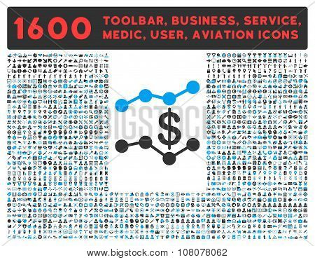 Sales Trends Icon With Large Pictogram Collection