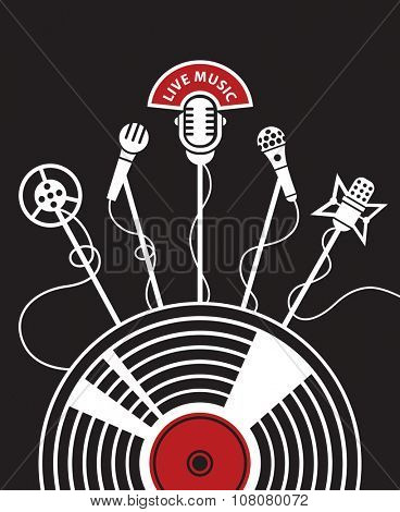 illustration with microphones and vinyl on a black background