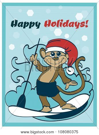 Vector Happy Surfing Holidays Paddleboarding Monkey Greeting Card Design