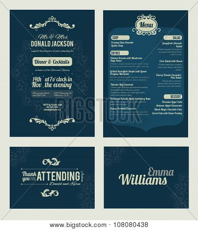 Vector Elegant Blue Dinner Coctails Party Invitation Set. Invite, menu, thank you, place card, event