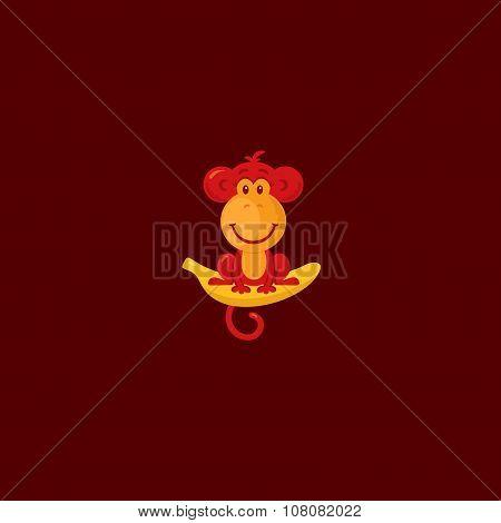 Monkey sitting on a banana.