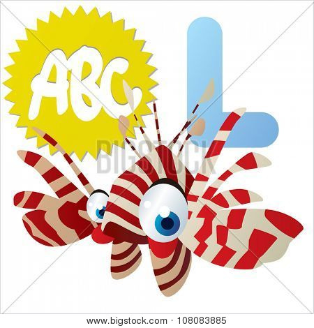 vector funny comic animal alphabet: L is for Lion Fish