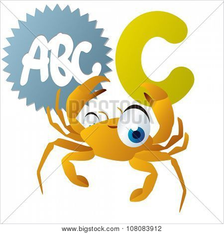vector funny comic animal alphabet: C is for Crab