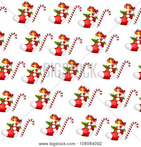 Seamless pattern - All over background -Christmas stocking - Sugar cane