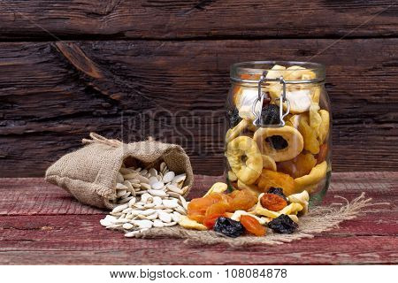 Dried Fruits And Seeds Of Pumpkin On A Table