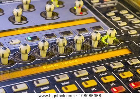 Studio Mixer Detail  With Backlit Buttons, Selective Focused