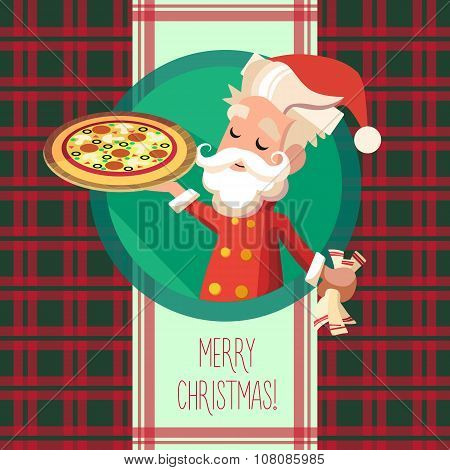 Card With Cartoon Elf For Christmas And New Year Party