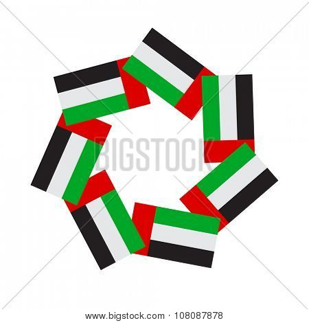 Vector unit made of UAE national flags which represents unity of seven  Emirates.