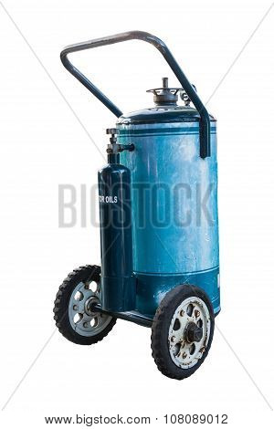 Blue Fuel Tank With Wheel Isolate On White Background