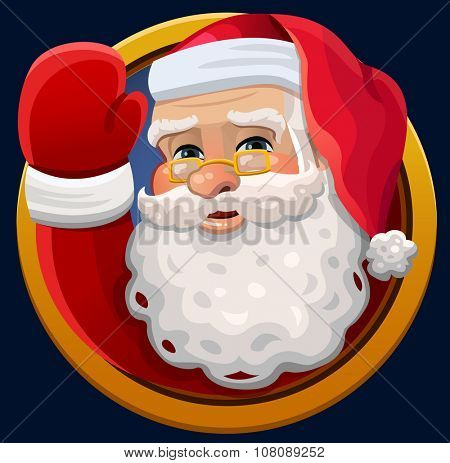 Santa waving icon. Vector illustration