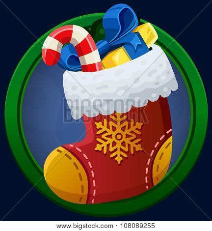 Christmas sock icon. Vector illustration