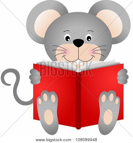 Cute mouse reading a book
