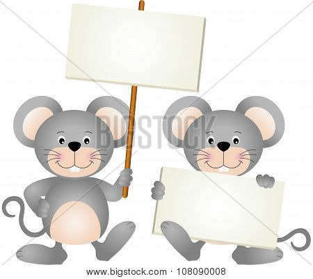Mouses with signboards