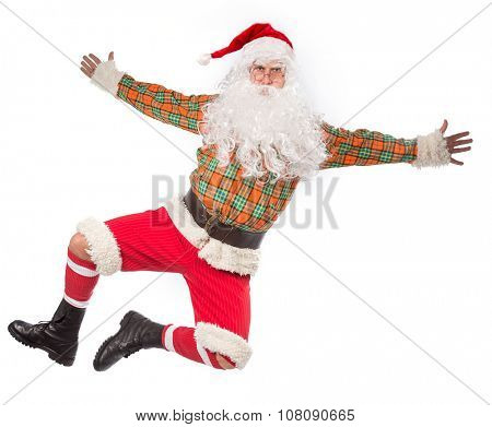 Santa Claus jumping with open hands