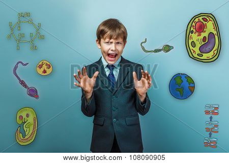 Boy in a suit style office raised his hands and shouts opened hi
