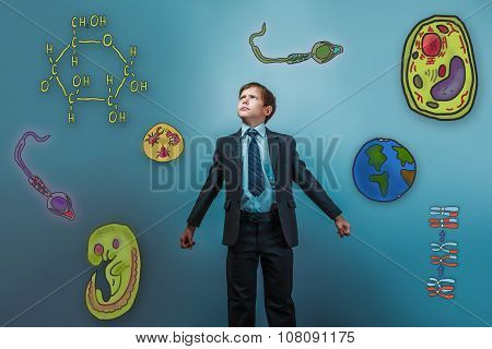 boy looking up serious businessman opened his arms Icons biology
