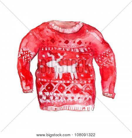 Deer sweater with deer and nordic pattern. Red and white colors. Winter watercolor illustration isol