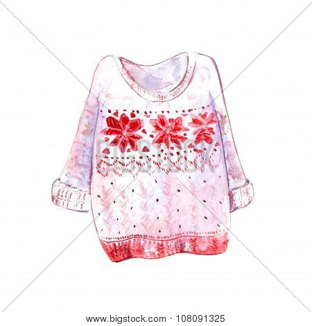 Warm and cozy sweater with scandinavian pattern with geometry snowflakes. Red and white colors. Wint