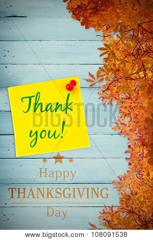 Happy thanksgiving against digital image of pushpin on yellow paper