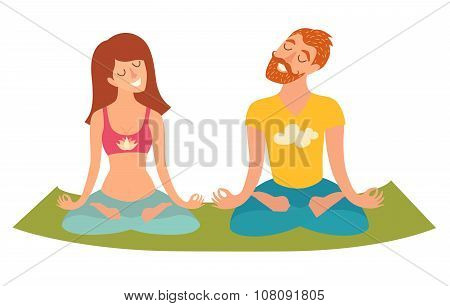 Family yoga isolated woman and man in the lotus position