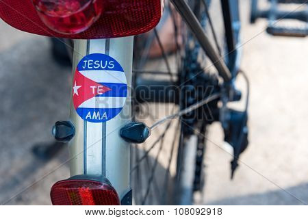 Jesus Loves You Sign in Bicycle