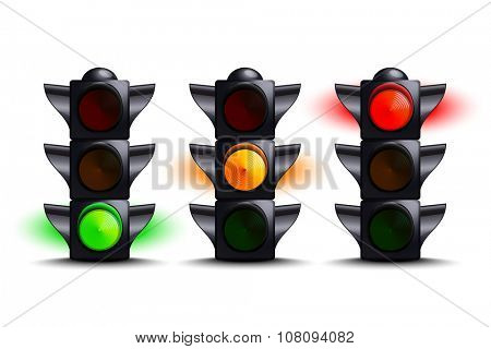 Traffic lights on green, yellow, red