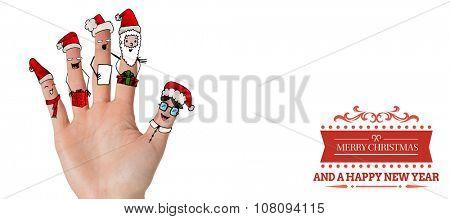 Christmas caroler fingers against white background with vignette