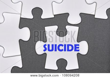 Jigsaw Puzzle Written Word Suicide