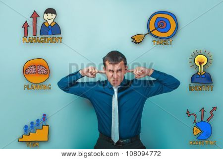 Male businessman wrinkled fingers and plugged ears collection of