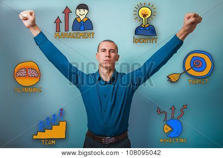 Male from raised his hands up a serious collection of business i
