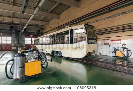 Moscow/russia - June , 2014; Cleaning Of The Tram. Tram Inside The Depot. Krasnopresnenskaya Tram De