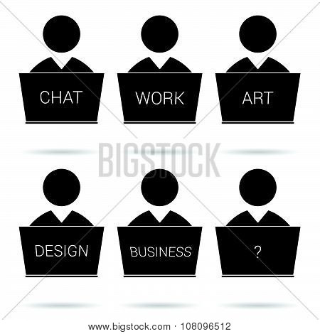 People Icon Work Vector Silhouette
