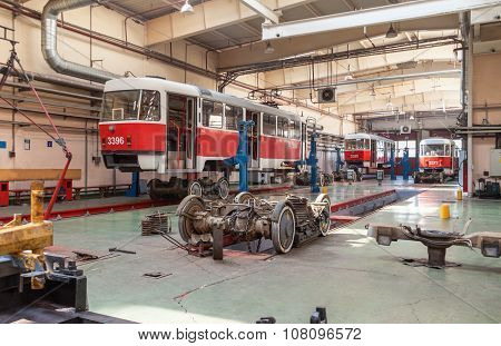 Moscow/russia - June , 2014; Maintenance Of Tram Tatra T3A In Workshop. Krasnopresnenskaya Tram Depo
