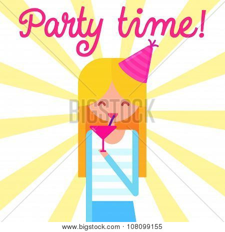 girl with cocktail glass and party hat at yellow starburst background. Flat vector illustration.